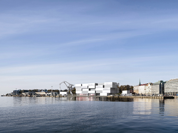 Referring to the Port of Helsinki, a simple module reminding of a shipping container is the basis for Guggenheim Helsinki to go global. Picture: Wallmüller. © Kimmerle, Wallmüller